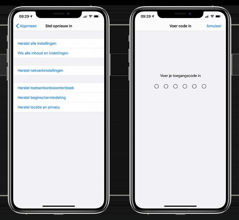 Instellingen herstellen iPhone