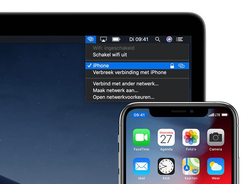 Persoonlijke hotspot en Instant hotspot op iPhone en Mac