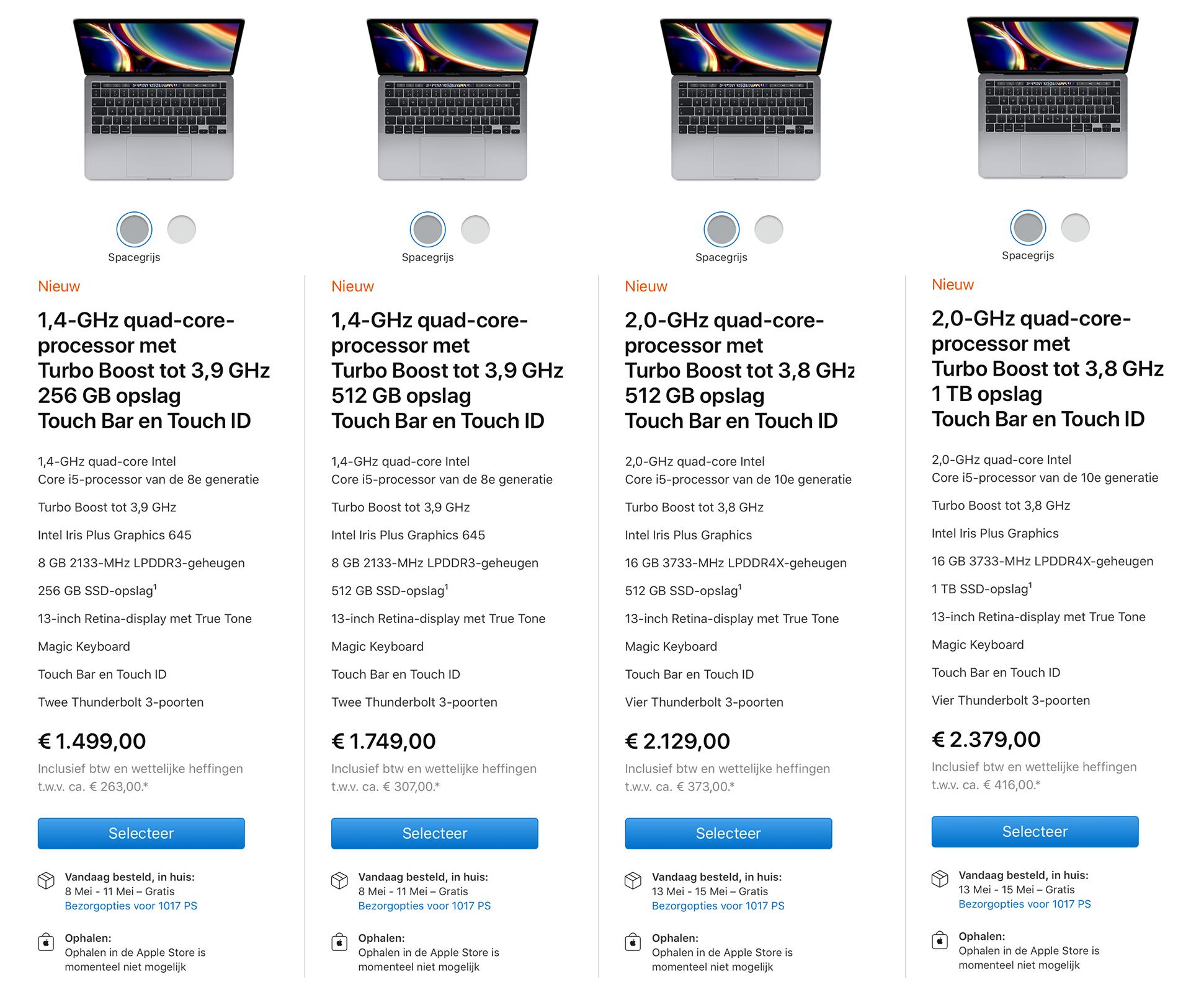 """MacBook Pro 13"""" - 2020 line-up"""