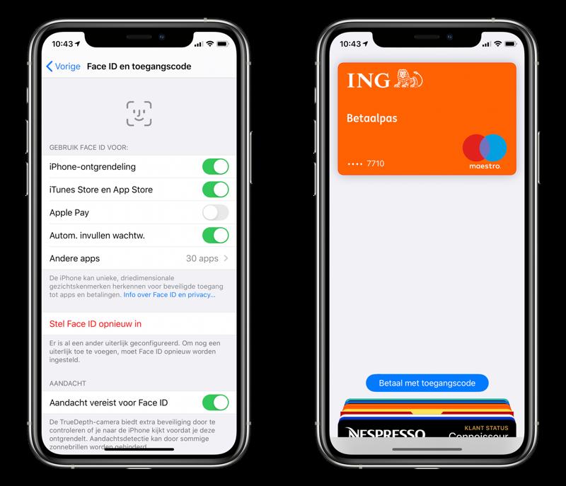 Apple Pay betalen met toegangscode.
