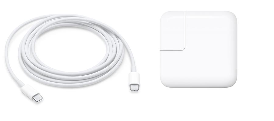 Apple USB-C MacBook oplader van 29 en 30 Watt.
