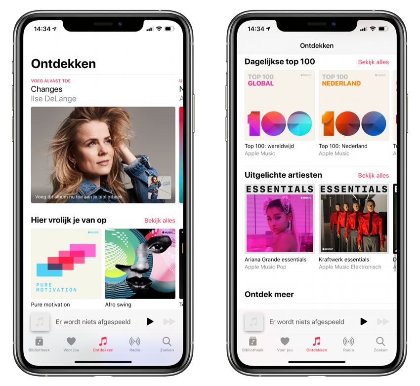 Ontdekken tabblad Apple Music