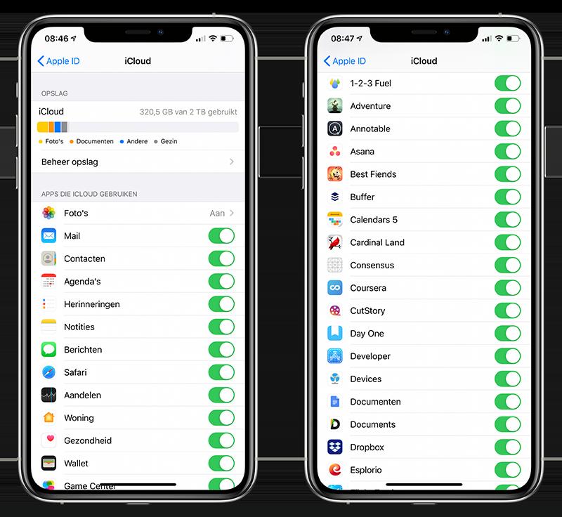 Apps data iCloud synchroniseren