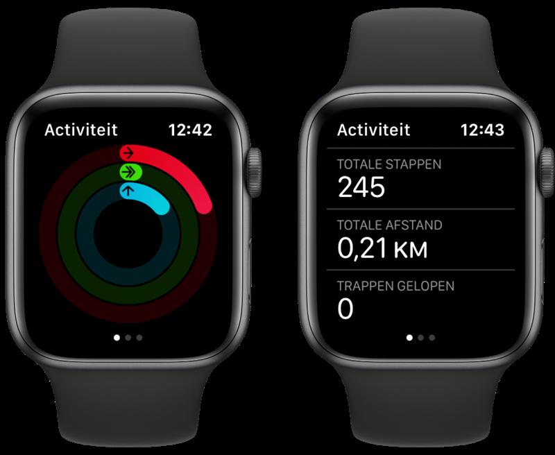 Stappenteller op Apple Watch in Activiteit-app.