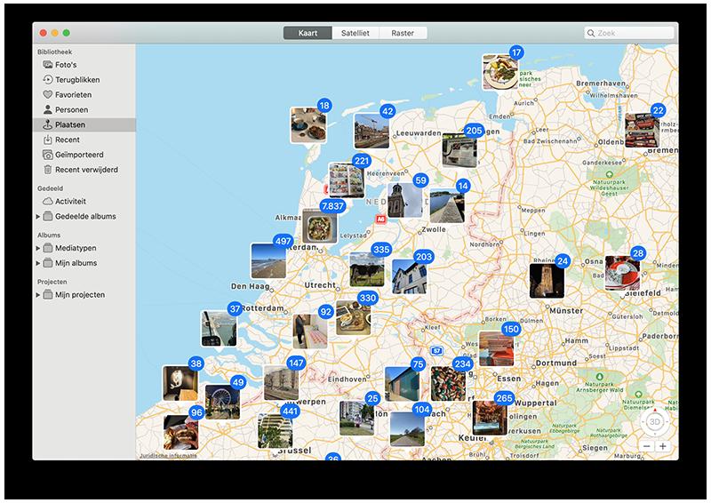 Foto's op de kaart (Mac)