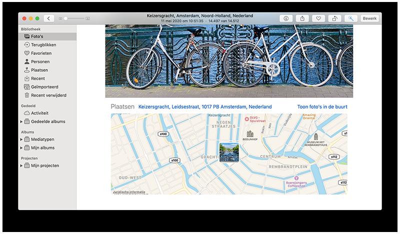 Foto-locatie op de Mac bekijken