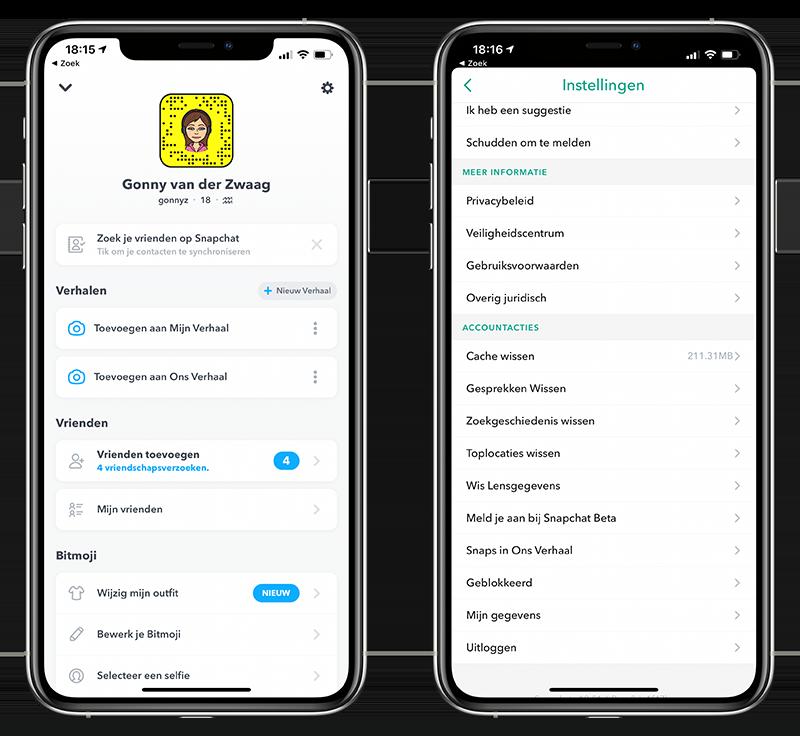 Snapchat-instellingen en data opvragen