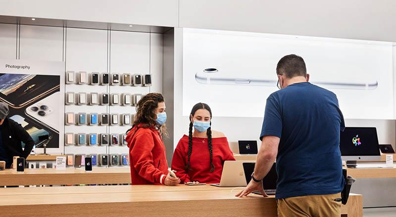Apple Stores met mondkapjes