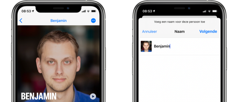Personen hernoemen in de Foto's-app.