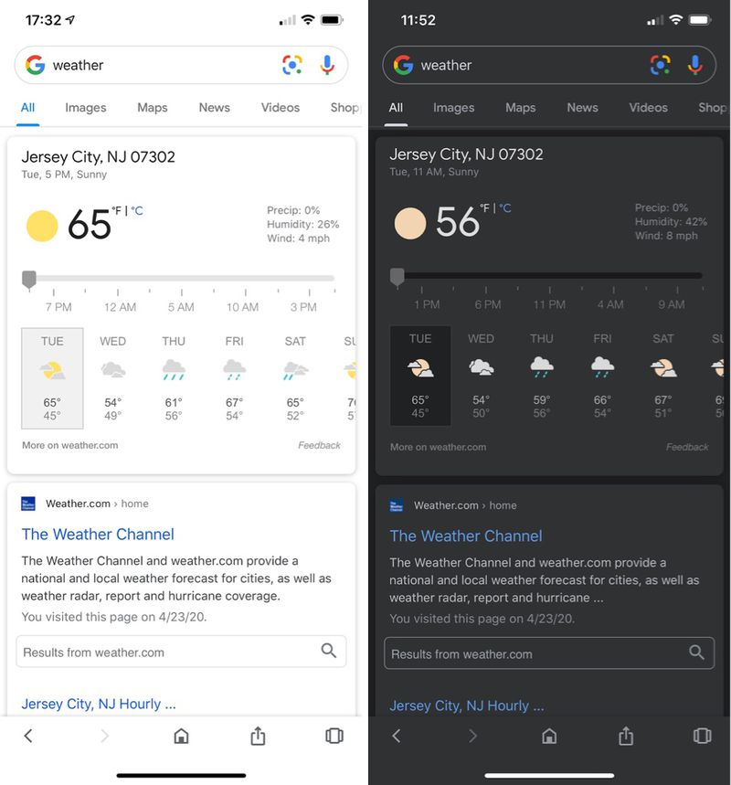 Google-app met Dark Mode.