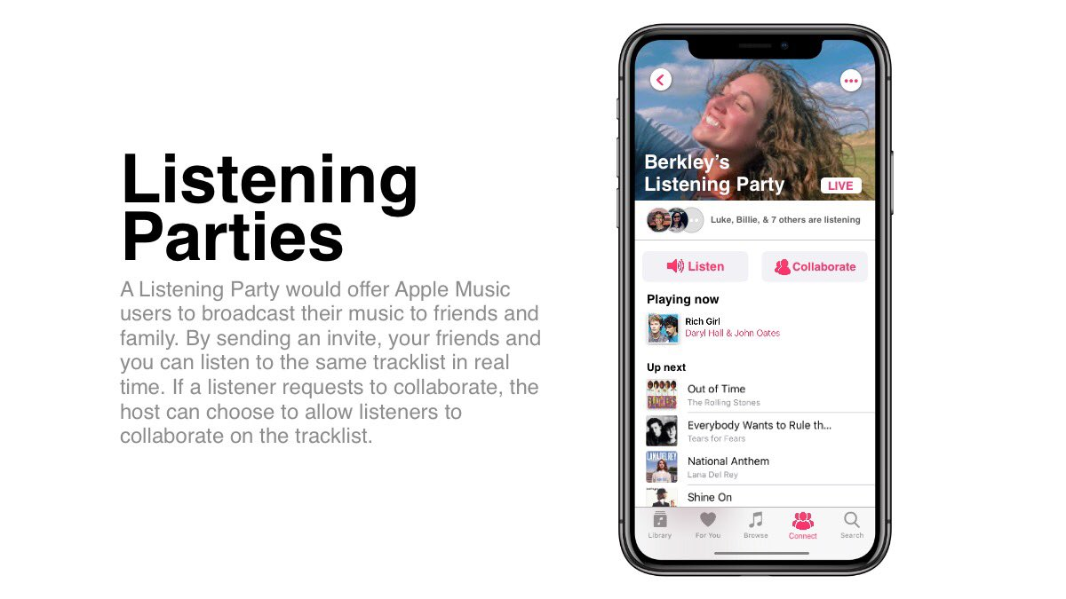 Apple Music concepts Listening parties.