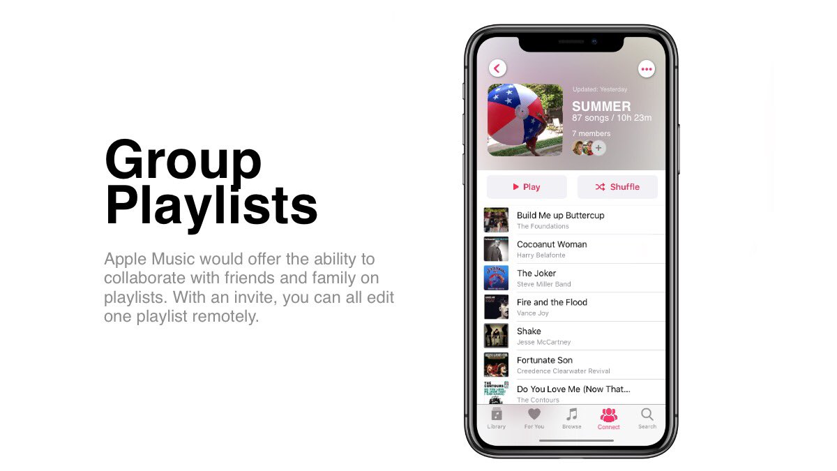 Apple Music concept Group Playlists.
