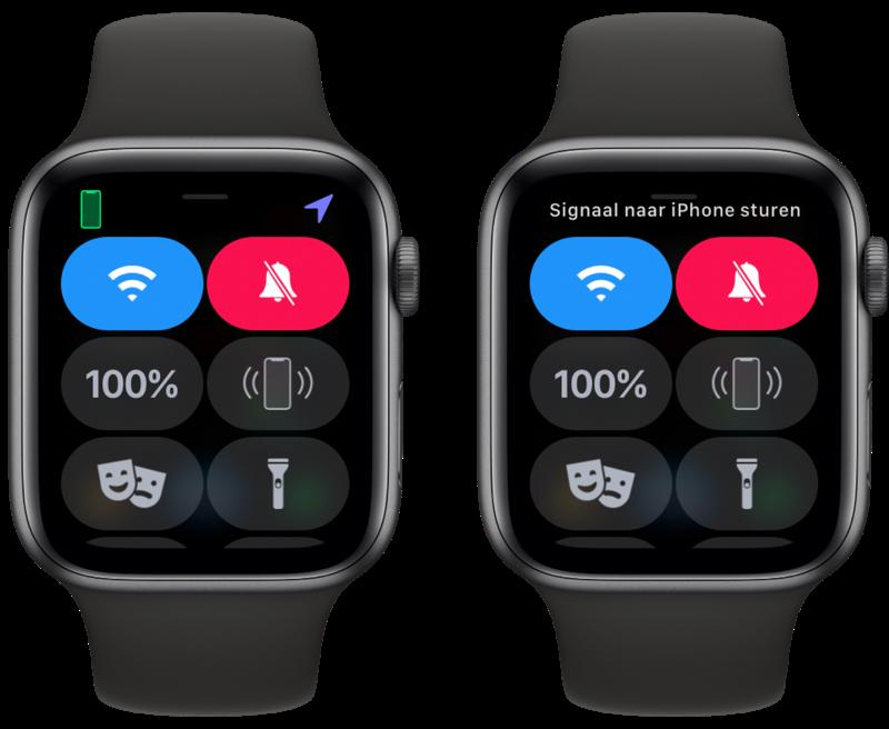 iPhone terugvinden met Apple Watch via ping-geluid of flitser.