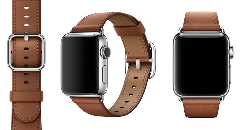 Apple Watch bandje bruin leer klassieke gesp