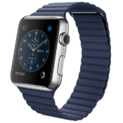 Apple Watch middernachtblaus leren band