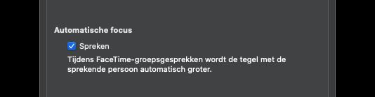 FaceTime op Mac: automatische focus uitschakelen.