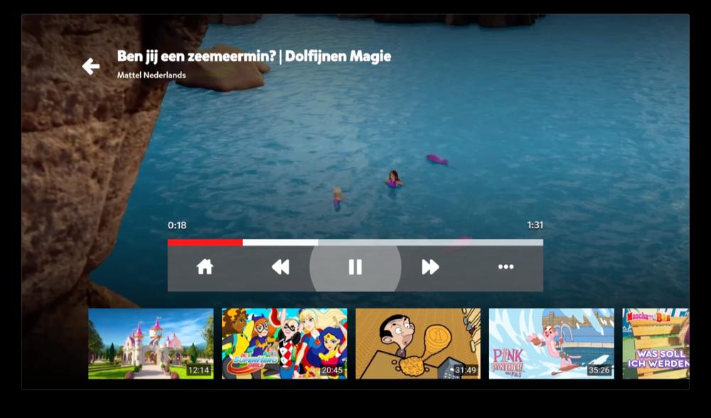 Video afspelen op YouTube Kids op Apple TV.