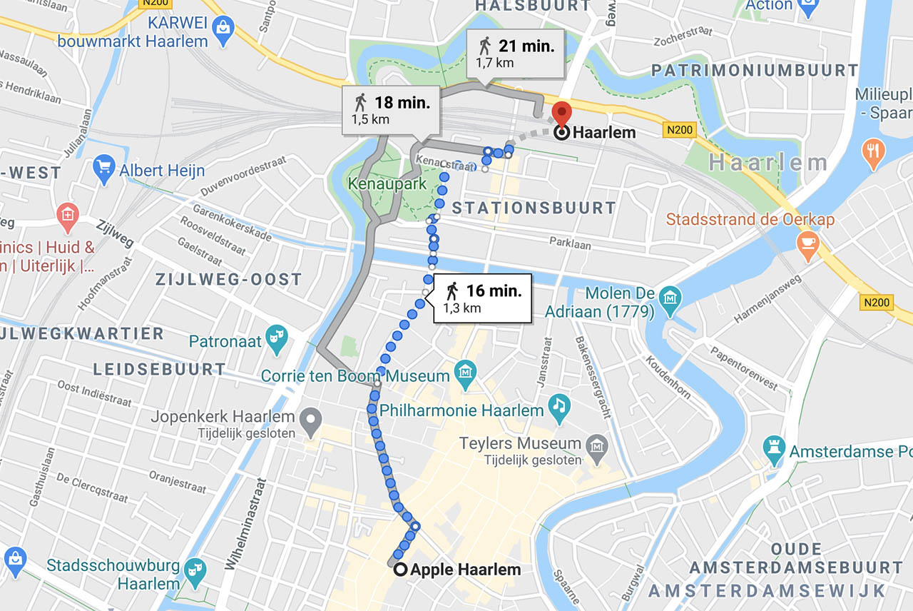 Apple Haarlem station en ligging