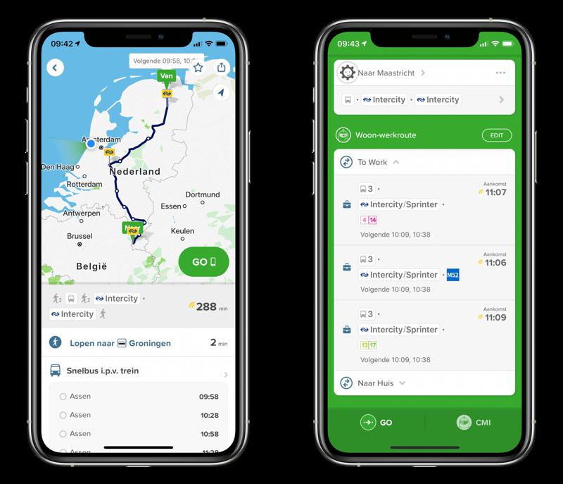 Citymapper route plannen in Nederland.