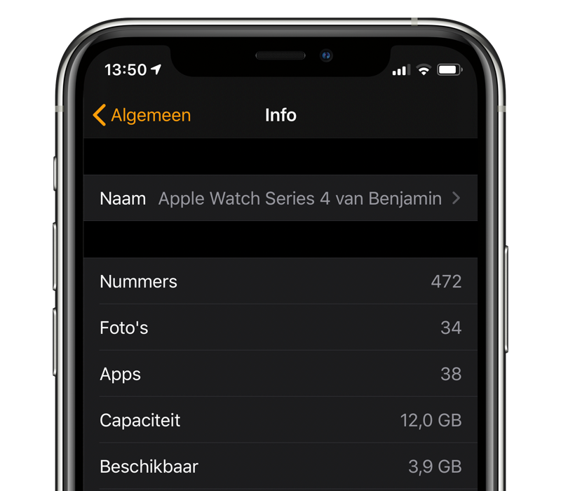Apple Watch opslag controleren op de iPhone.