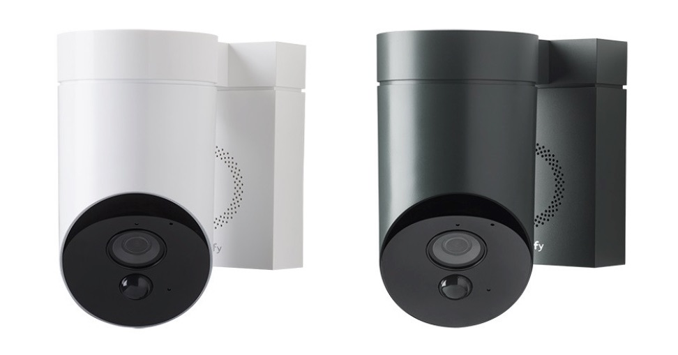 Somfy Outdoor Camera in wit en grijs.