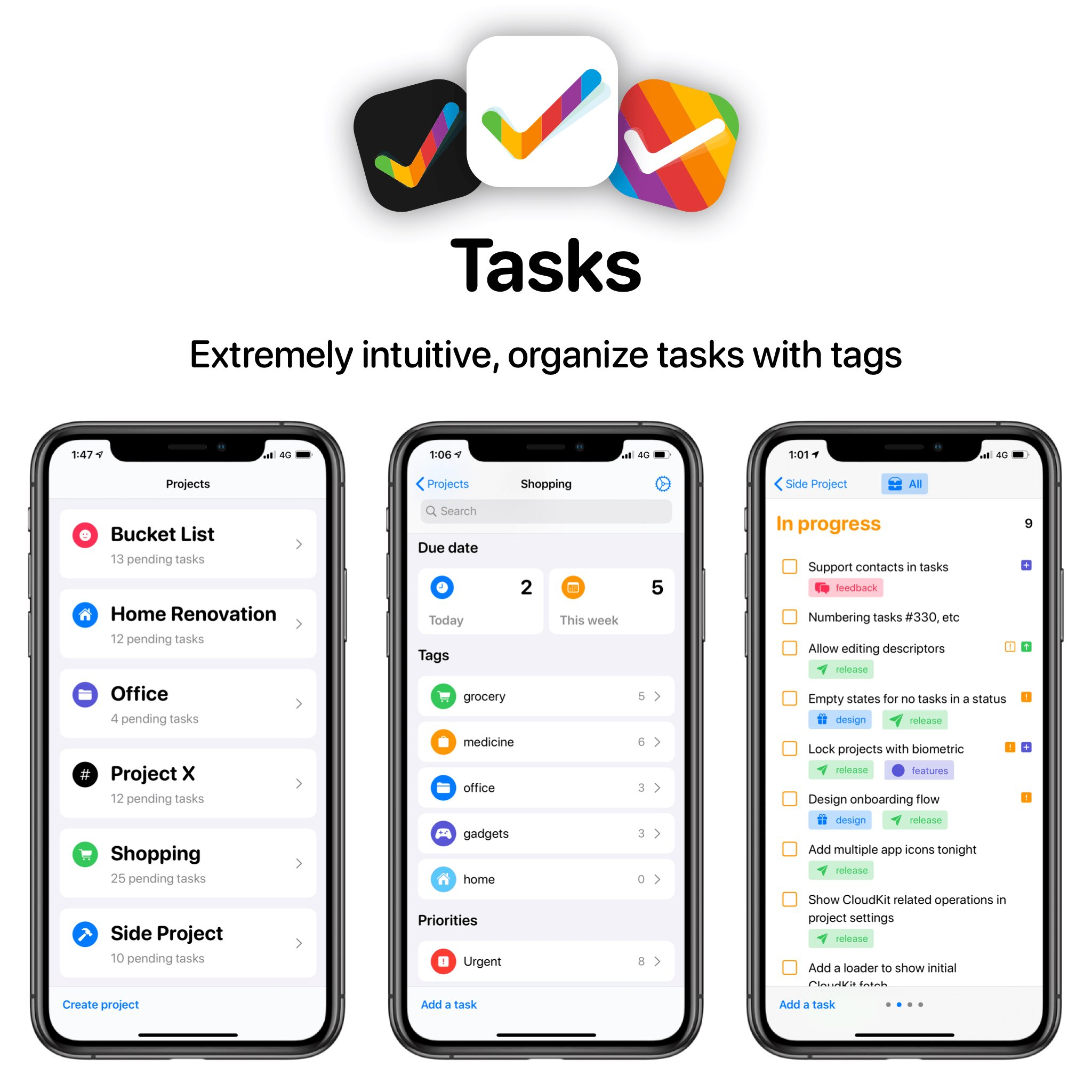 Tasks app op iPhone en iPad.