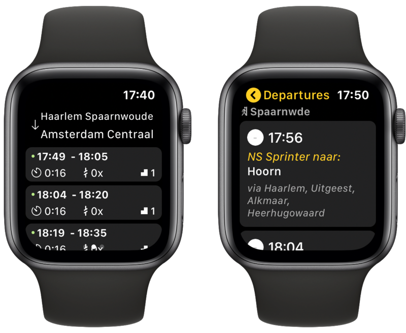 NS en Treingids op Apple Watch.