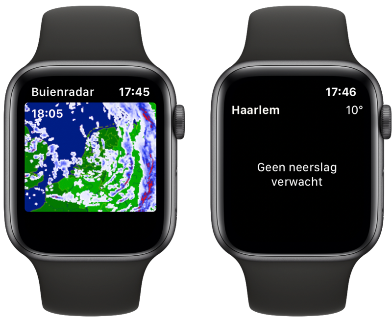 Buienradar en Buienalarm op Apple Watch.