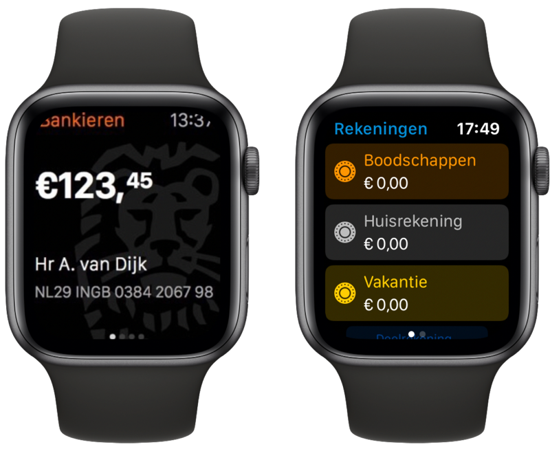 ING en bunq op Apple Watch.