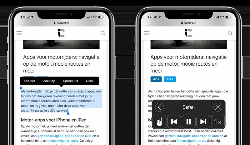 Selectie of scherm voorlezen op iPhone