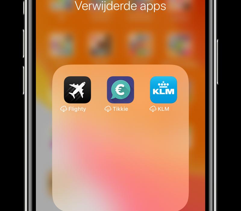 Automatisch apps verwijderen: wolkje naast apps.