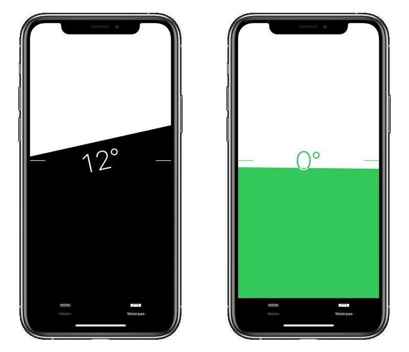 Waterpas op iPhone staand gebruiken.