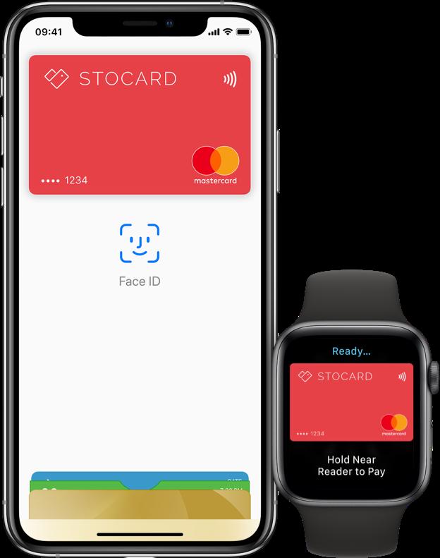 Stocard Apple Pay op iPhone en Apple Watch.