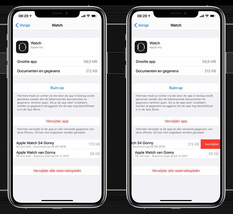 Apple Watch reservekopie bekijken