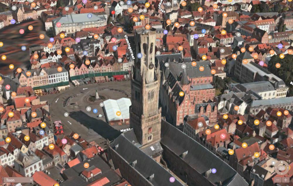 Apple Kaarten Flyover met Brugge in 3D.