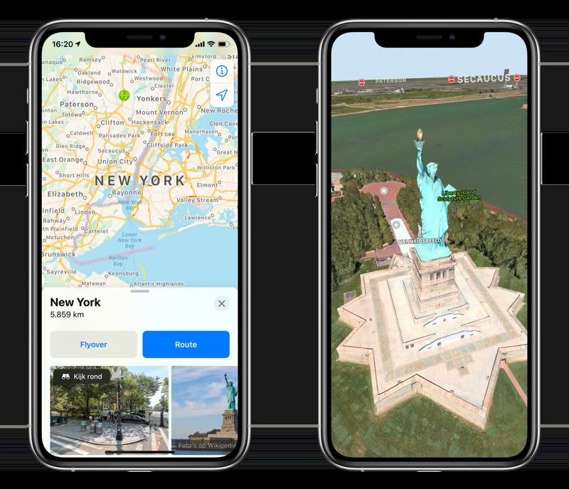 Apple Kaarten Flyover in New York.