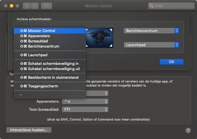 Interactieve hoek op de Mac met een knoppencombinatie.