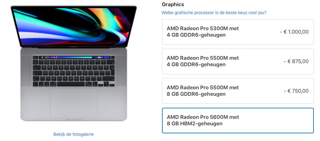 MacBook Pro GPU upgrade met HBM2 geheugen.