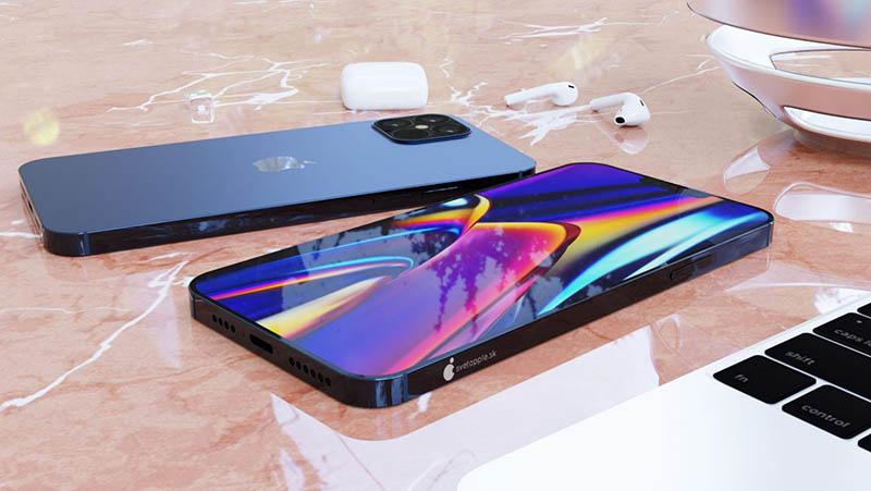 iPhone 12 render donkerblauw van zijkant gezien