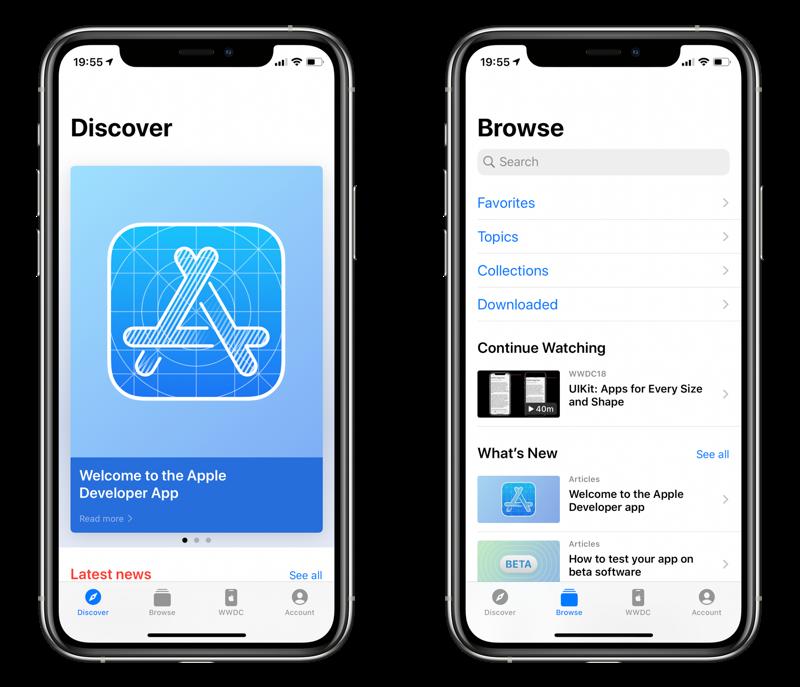 Apple Developer app voor WWDC 2020.