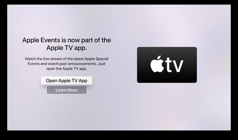Apple Events-app naar TV-app.