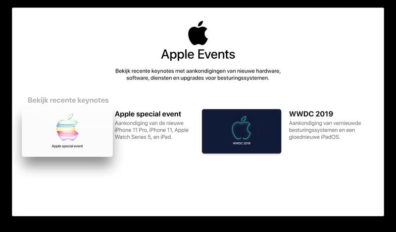 Apple Keynotes in TV-app.
