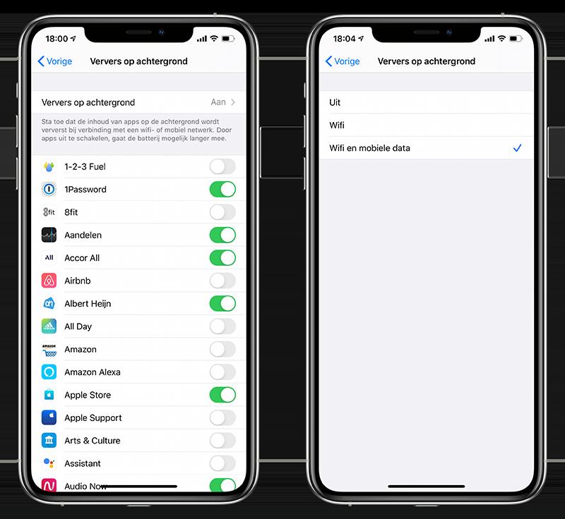 Apps op achtergrond verversen