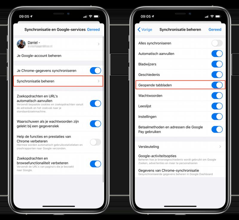 Google Chrome iOS tabbladen synchroniseren