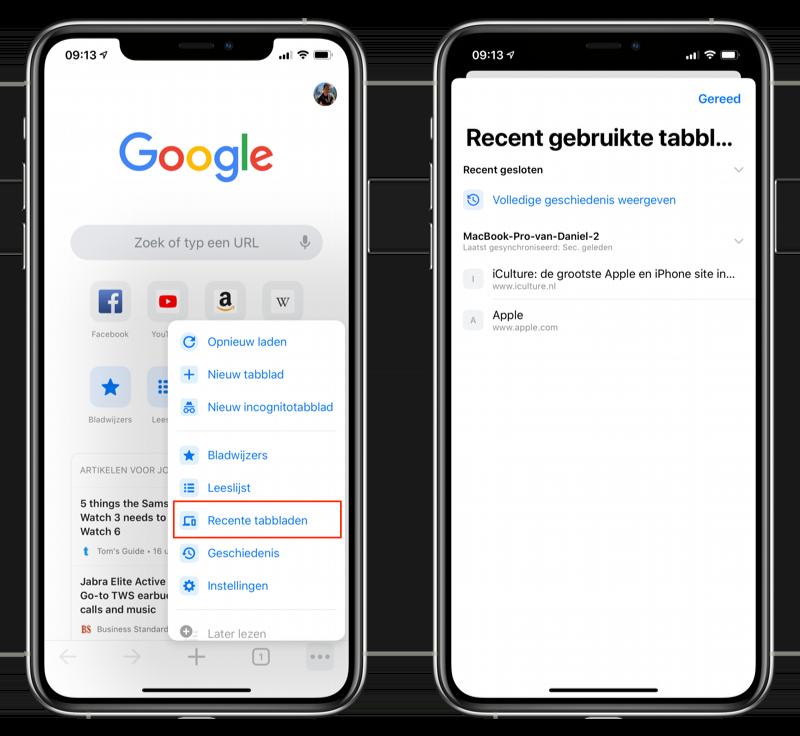 Recente tabbladen Google Chrome