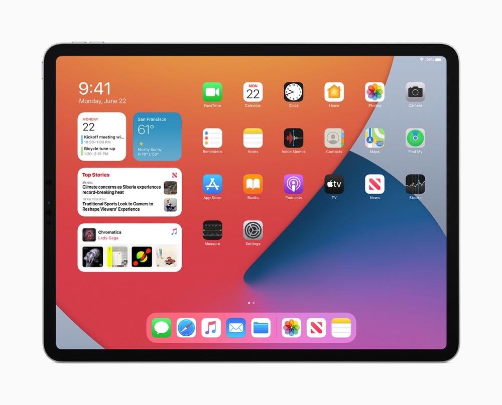 iPadOS 14 thuisscherm met widgets
