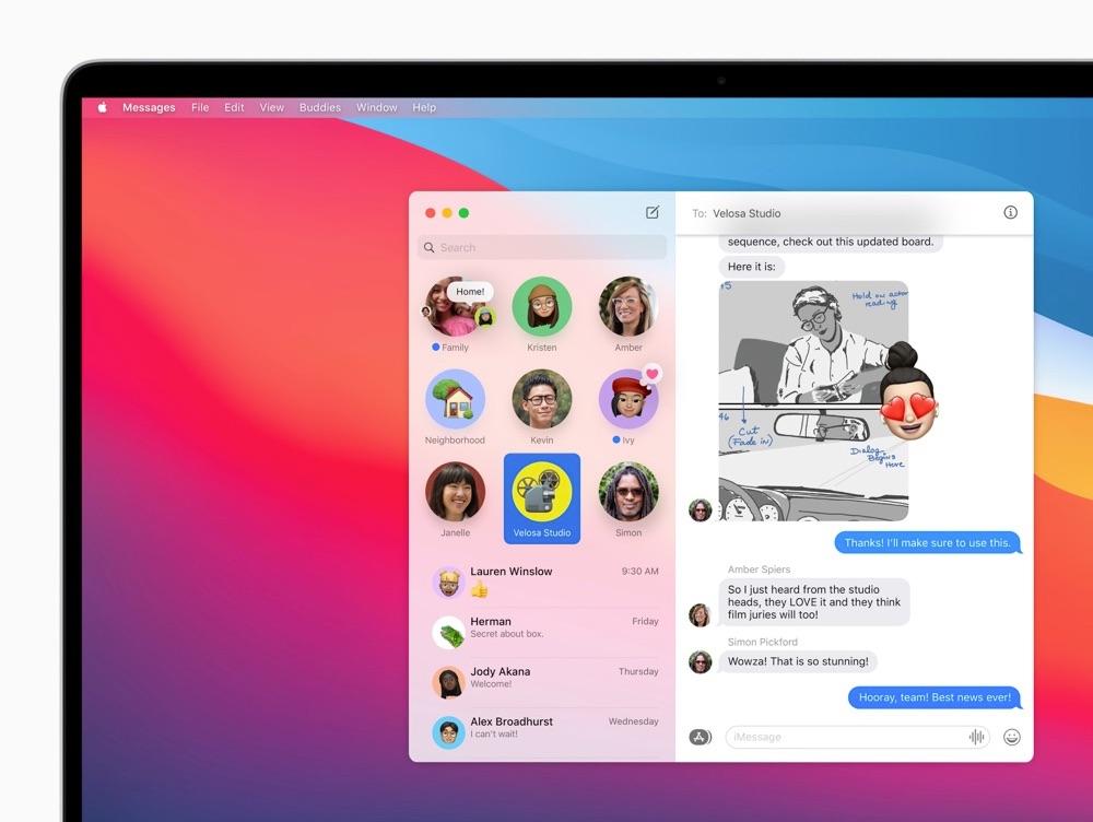 macOS Big Sur Berichten overzicht