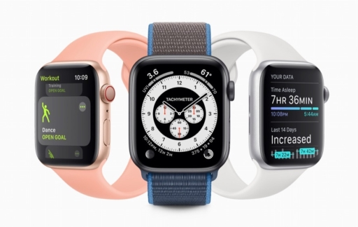 watchOS 7 op Apple Watch met Sleep en wijzerplaten.