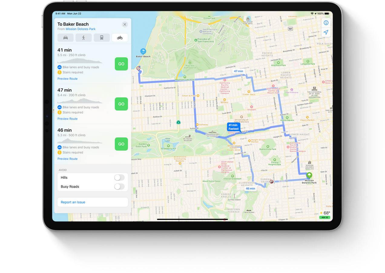 Fietsroutes op iPad plannen