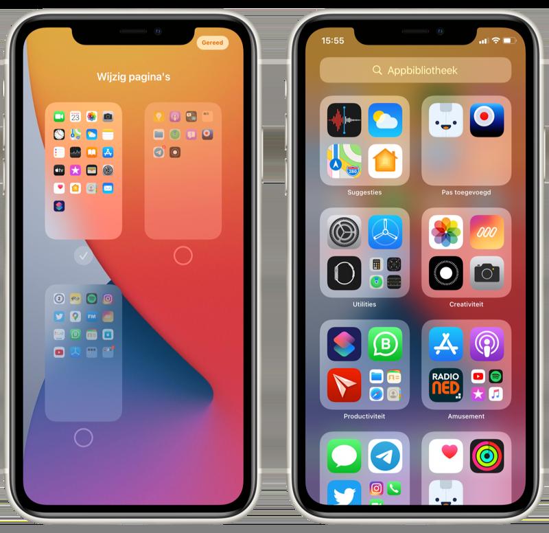 iOS 14 beginscherm met appbibliotheek.